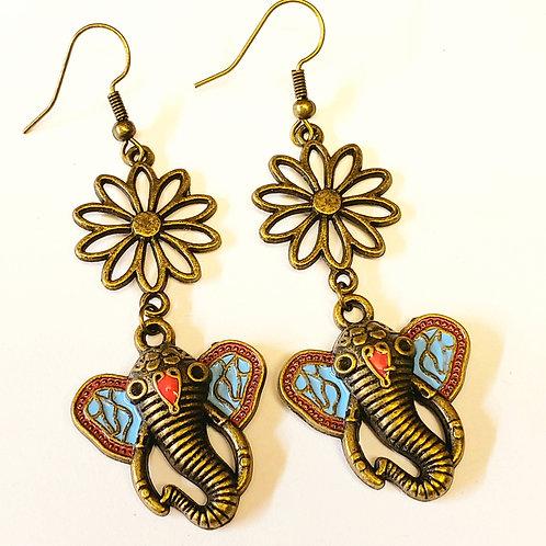 Bronze Ornate Elephant Dangle Earrings