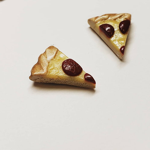Mini cheese pizza earrings