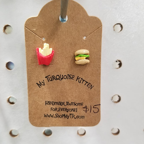Mini Cheeseburger and Fries Stud Earrings