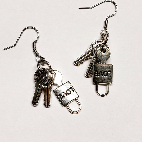 Love Lock Keyring Set Earrings