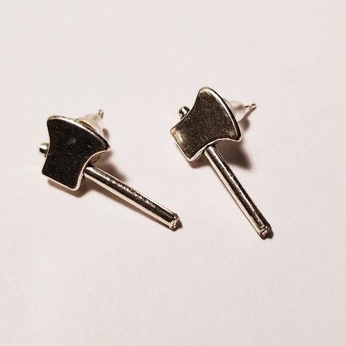 Silver Axe Stud Earrings