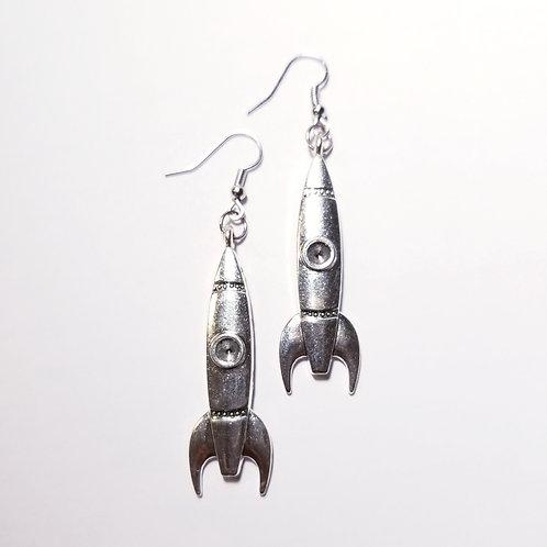 Large Retro Silver Rocket Earrings