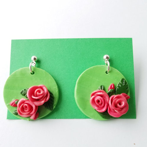 Mint and Roses Earrings