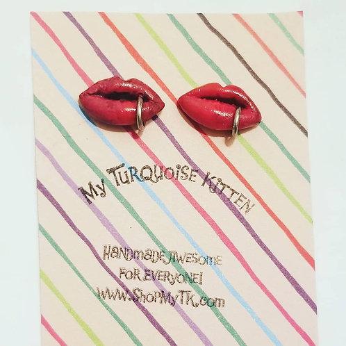 Raspberry Red Pierced Lip Stud Earrings