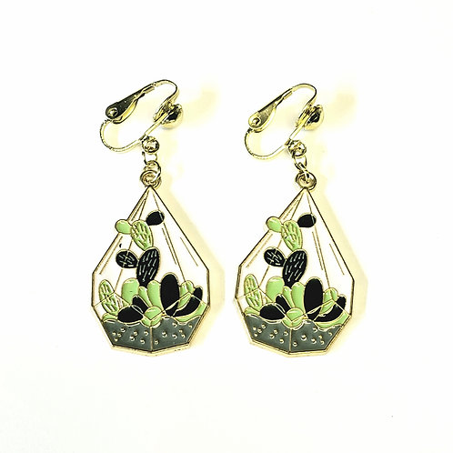 Cactus Terrarium Charm Clip-on Earrings
