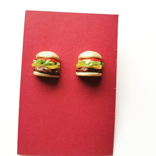 Mini Cheeseburger Stud Earrings