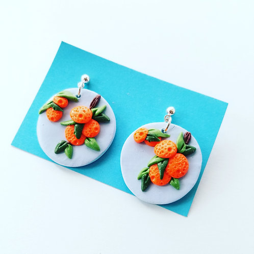 Citrus Branch Circle Earrings