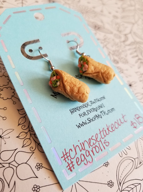 Shrimp Eggroll Earrings
