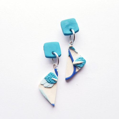 China Blue Slab Earrings- Trudy
