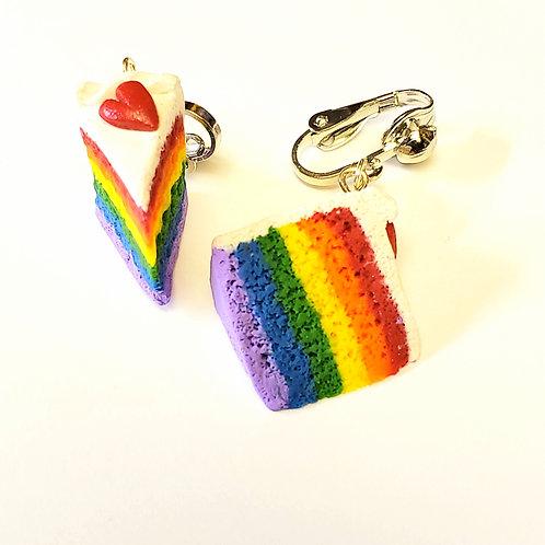 Rainbow Cake Clip-on Earrings