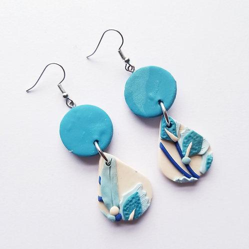 China Blue Slab Earrings - Heather