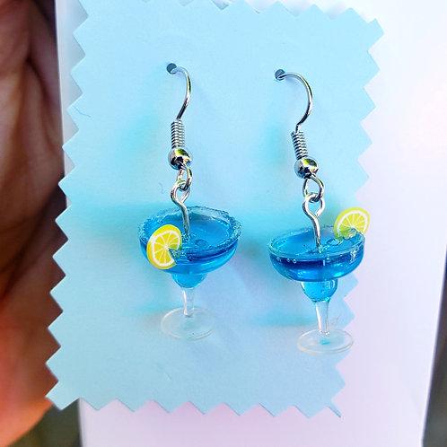 Blue Hawaiian Cocktail Earrings
