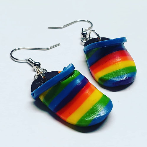 Rainbow Gator Sandal Earrings