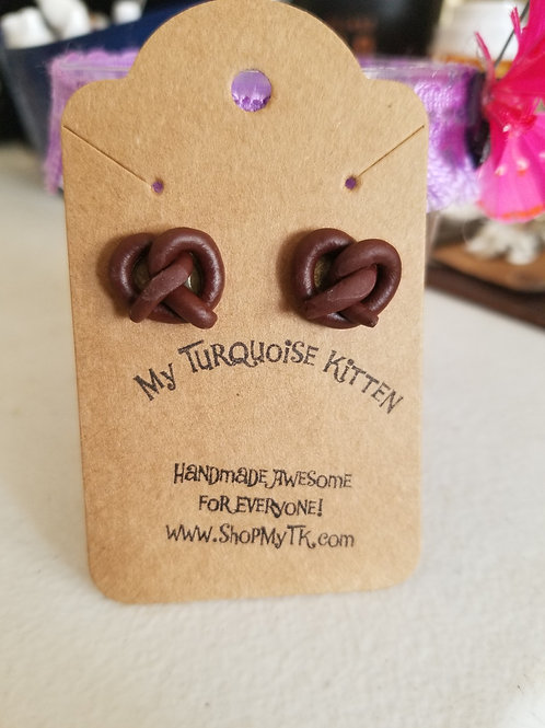 Chocolate Covered Pretzel Earrings