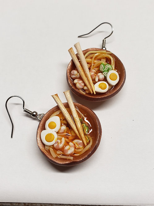 Shrimp Ramen Bowl Earrings