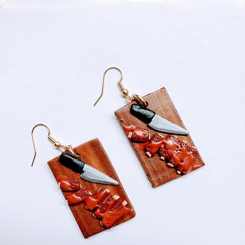 Ribs on a Cutting Board Earrings