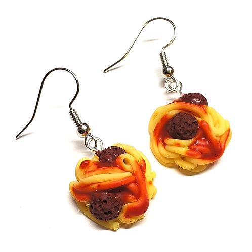 Spaghetti and Meatballs Drop Earrings