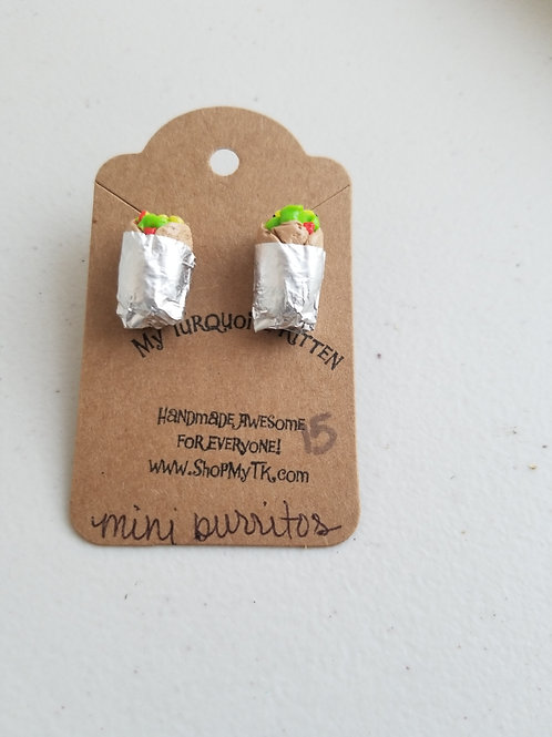 Mini burrito stud earrings