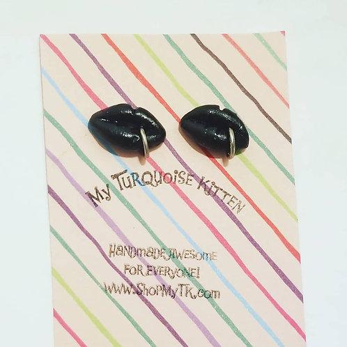 Black Pierced Lip Stud Earrings