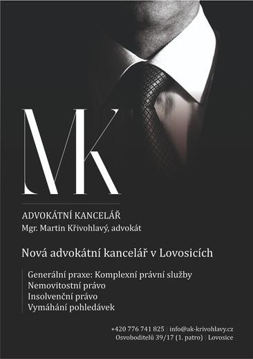 Reklama pro advokátní kancelář Martin Křivohlavý