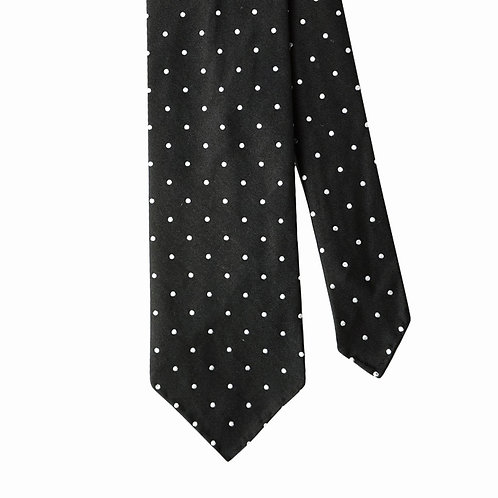 Black White Polka Dot 3-Fold Silk Necktie Tie