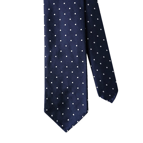 Navy Blue White Polka Dot 3-Fold Silk Necktie Tie