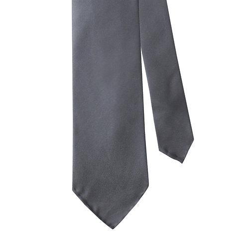 Grey Silk Twill 3-Fold Necktie Tie