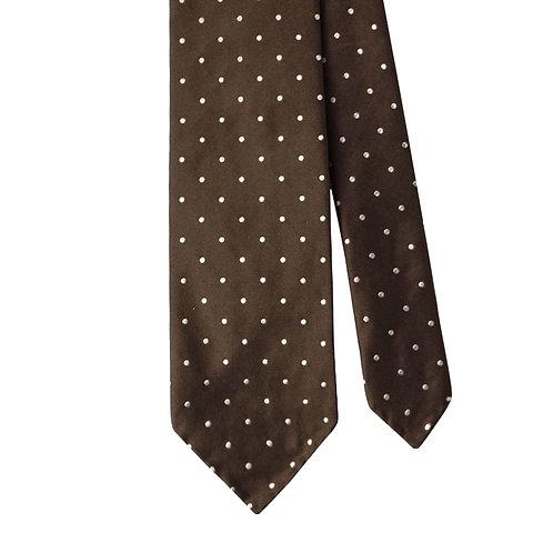 Brown White Polka Dot 3-Fold Silk Necktie Tie
