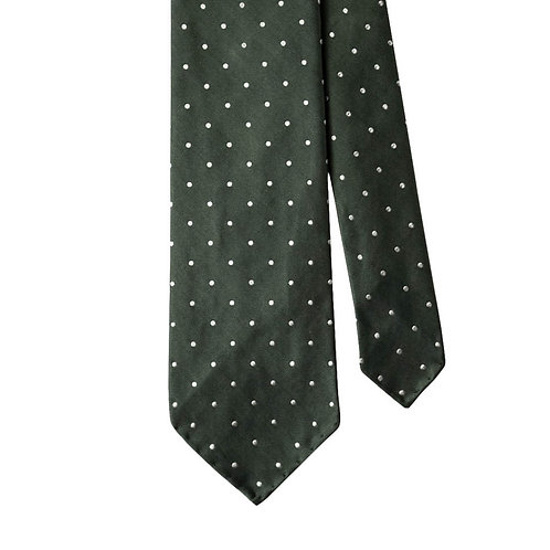 Green White Polka Dot 3-Fold Silk Necktie Tie