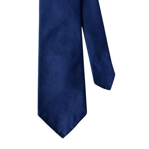 Cobalt Blue Navy Herringbone 3-Fold Silk Necktie Tie