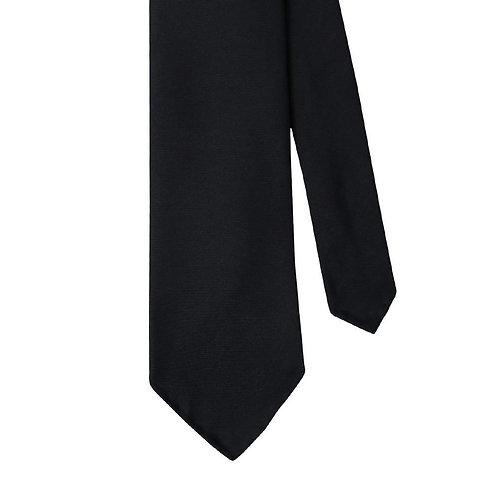 Black Silk Twill 3-Fold Necktie Tie
