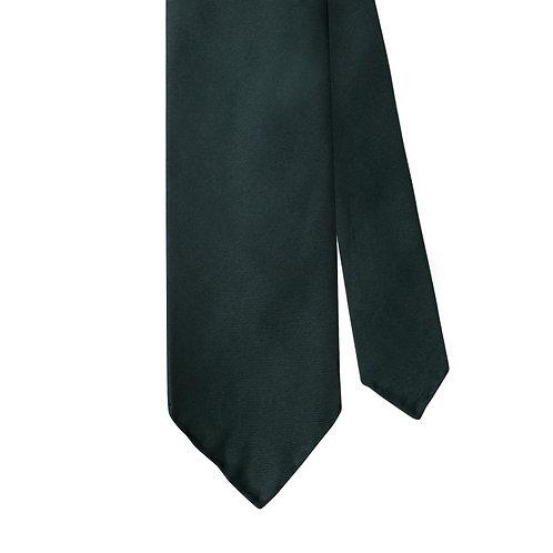 Dark Green Silk Twill 3-Fold Necktie Tie