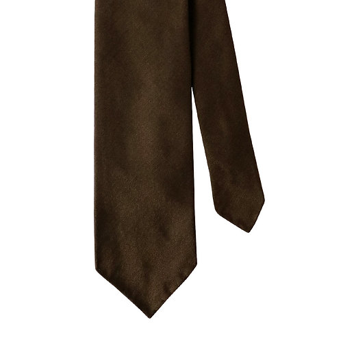 Brown Herringbone 3-Fold Silk Necktie Tie