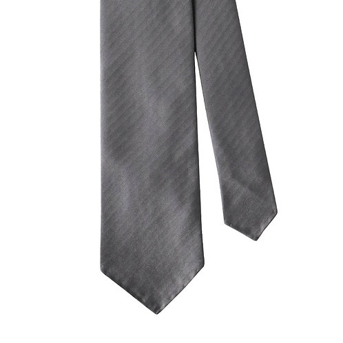 Grey Herringbone 3-Fold Silk Necktie Tie