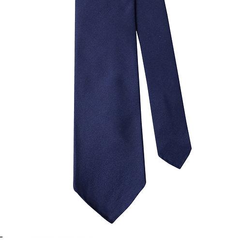 Navy Blue Silk Twill 3-Fold Necktie Tie