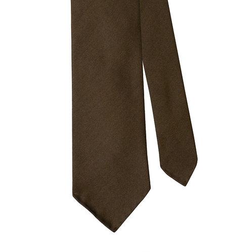 Brown Silk Twill 3-Fold Necktie Tie
