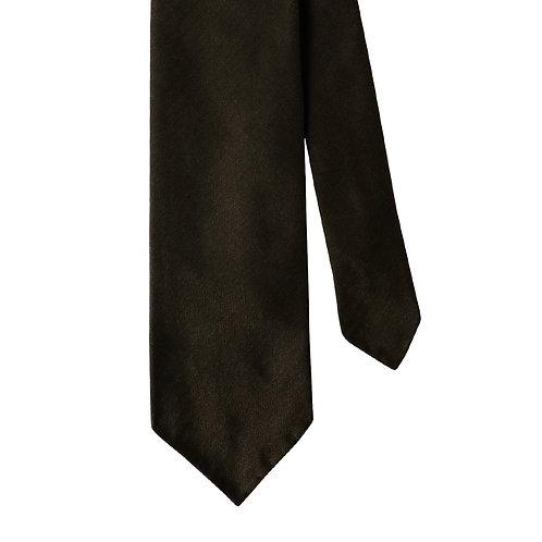 Dark Brown Herringbone 3-Fold Silk Necktie Tie