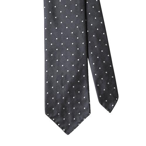 Grey White Polka Dot 3-Fold Silk Necktie Tie