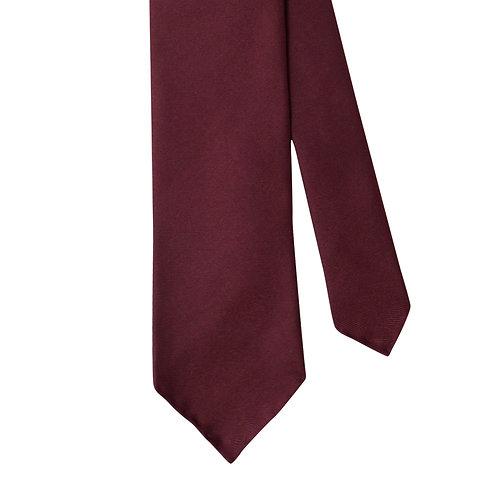 Maroon Red Silk Twill 3-Fold Necktie Tie
