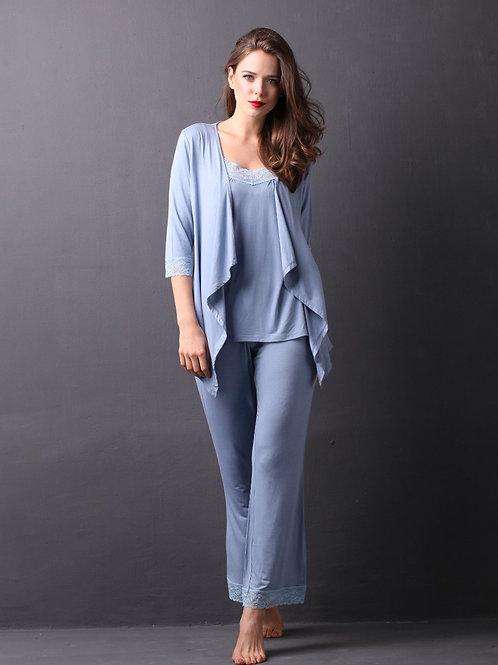 Lepoux 柔滑睡衣連睡袍套裝 (灰藍)