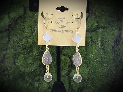 3 Stone Drop Gemstone Earrings