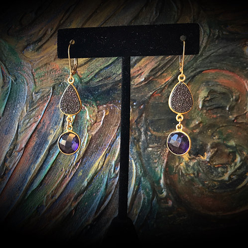 Druzy & Amethyst Earrings
