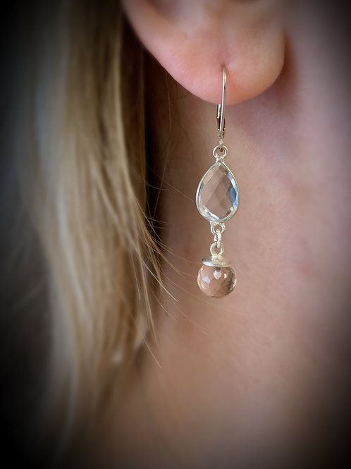 Clear Quartz Crystal & Rose Quartz Gemstone Lever Back Earrings