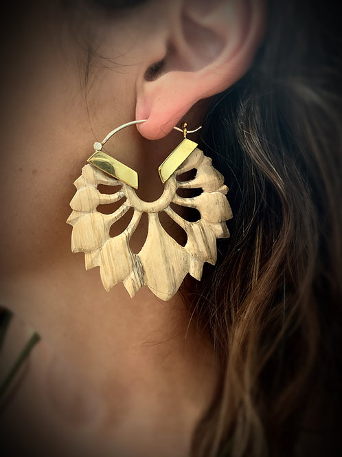 Carved Wooden Tribal Earrings