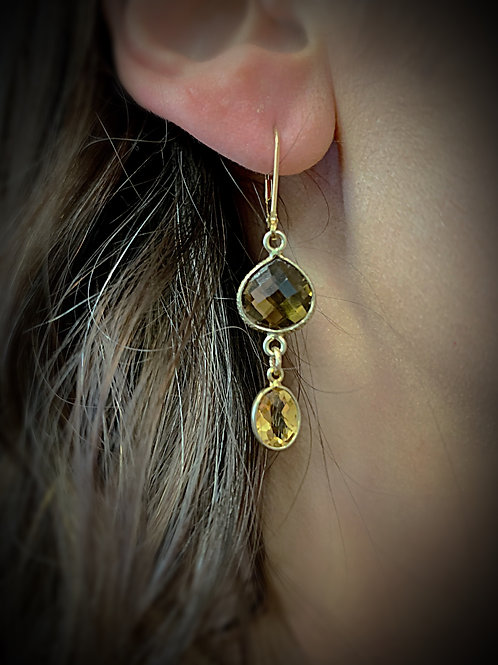 Smokey Quartz and Citrine Earrings