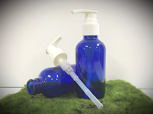 Cobalt Glass Bottle with Pump, 4 oz.