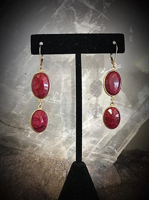 Oval Ruby Double Drop Earrings