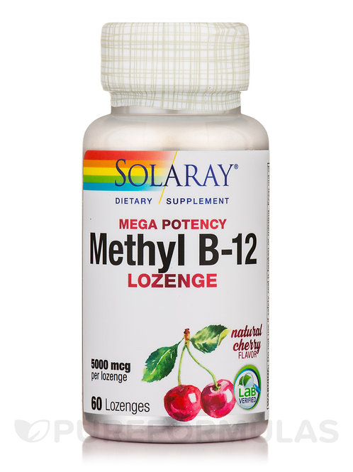 Solaray Methyl B-12 Lozenge Cherry 60 ct., 5000 mg