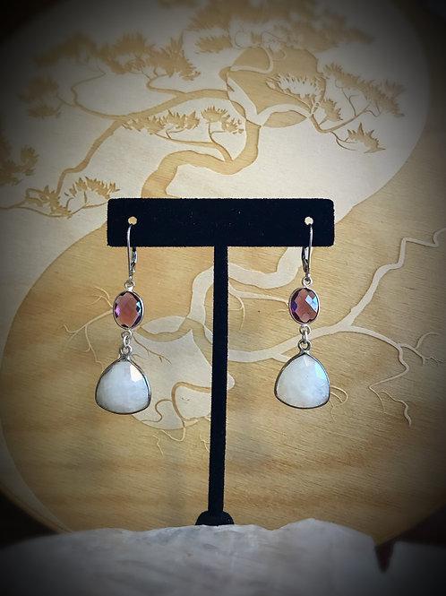 Rubellite & Moonstone Earrings