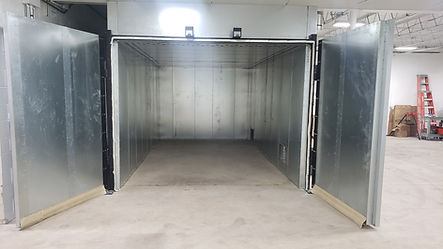 Inside view of the over used for baking the powder coating paint.